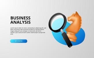 Estratégia de análise de negócios 3D com lupa e ilustração de xadrez de cavalo para negócios