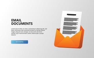 Documento 3D Arquivo em Papel Documento Correio Mensagem de Email para Ilustração de Negócios