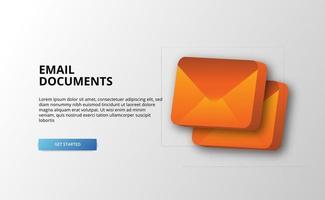Ilustração 3D de documentos de e-mail para empresas