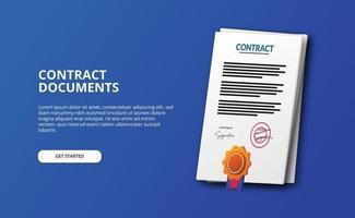 documento contrato arquivo papel ilustração ícone 3d com medalha de certificado vetor