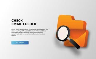 Ilustração de documentos de e-mail de análise de pasta de verificação 3D para empresas para proteção de segurança