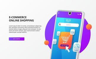 compras on-line clique em comprar no conceito de página de destino de comércio eletrônico móvel ilustração 3D do telefone vetor