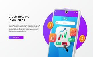 aplicativo de negociação de títulos de ações com ilustração de gráfico de velas com crescimento de dinheiro do telefone em 3D vetor