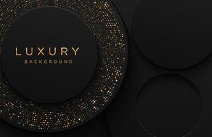 fundo de forma 3d elegante de luxo com padrão pontilhado de ouro cintilante isolado no preto. fundo de papel realístico abstrato. modelo elegante vetor
