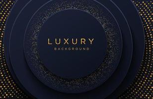 fundo elegante de luxo com padrão pontilhado de ouro brilhante isolado no preto. fundo de papel realístico abstrato. modelo de capa elegante vetor