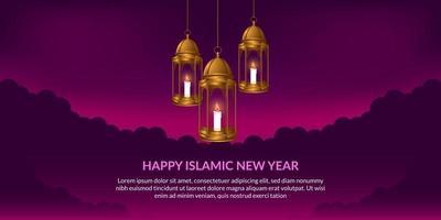 ano novo islâmico. feliz muharram. pendurado fanous árabe lanterna dourada com fundo roxo. vetor