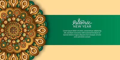 ano novo islâmico. feliz muharram. elegante mandala decorativa com cor verde e dourada. vetor