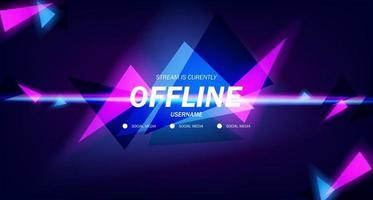 fundo moderno do protetor de tela de fundo do jogo off-line com triângulos brilhantes de cor neon rosa e ciano vetor