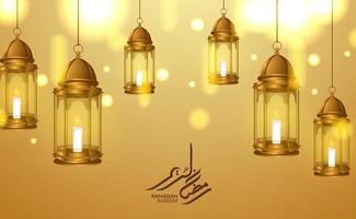 modelo de cartão islâmico. Ilustração 3D de luxo dourado pendurado em fanoos lanterna árabe com luz e caligrafia ramadan kareem vetor