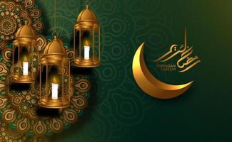 modelo de cartão islâmico. pendurado lanterna de luxo dourada 3d com padrão de mandala geométrica árabe com lua crescente dourada, caligrafia kareem do ramadã vetor