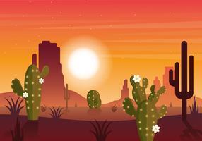Vetorial, deserto, paisagem, ilustração