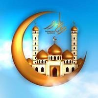 conceito de construção de mesquita de cúpula dourada com lua crescente de ouro e caligrafia ramadan kareem com fundo de céu azul. mês sagrado para evento islâmico