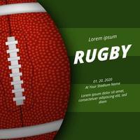 modelo de banner de pôster de futebol americano de rugby com bola oval 3d vetor