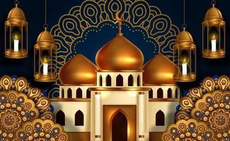 Ilustração 3D do edifício da mesquita de cúpula dourada com lanterna de fanoos pendurada e decoração de ornamento de mandala de círculo. evento islâmico, ramadã, mês sagrado de jejum. vetor