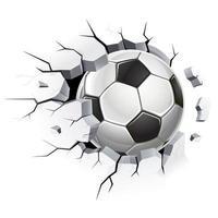 bola de futebol ou futebol e velhos danos à parede de concreto. ilustrações vetoriais.