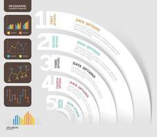 modelo de design de infográficos de negócios. ilustração vetorial. pode ser usado para layout de fluxo de trabalho, diagrama, opções de número, opções de inicialização, design de web. vetor
