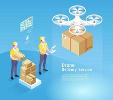 tecnologia de serviço de entrega de drones. ilustrações vetoriais. vetor