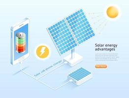 ilustrações vetoriais isométricas de telefone celular solar. vetor