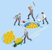 conceito de mineração de criptomoeda bitcoin. grupo de homem de negócios usa picareta trabalhando mina de moeda. ilustrações vetoriais.