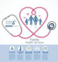 ilustrações vetoriais de serviços de saúde da família. vetor