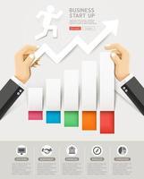projeto conceitual de start up de negócios. mão segurando infográficos de corte de papel. ilustrações vetoriais. vetor