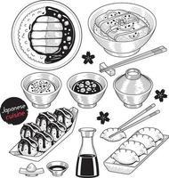 elementos de doodle de comida de japão estilo desenhado à mão. ilustrações vetoriais. vetor