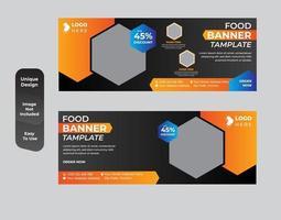 design de banner de web de alimentos para restaurante vetor