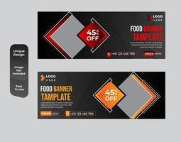 modelo de banner da web de restaurante de comida com um conjunto de design moderno e elegante vetor