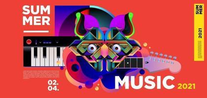 banner do festival do dia da música de verão vetor