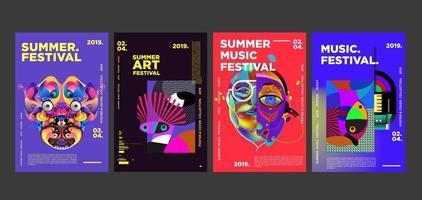 conjunto de pôster de festival de arte e música de verão vetor