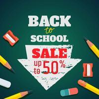 De volta à ilustração de venda de escola vetor