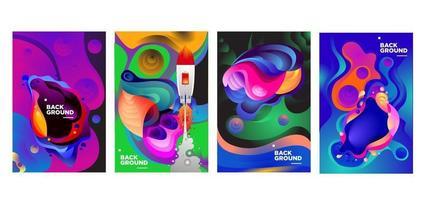banner de fundo gradiente líquido e líquido colorido vetor