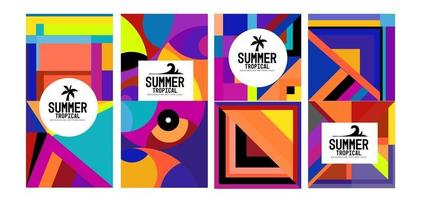 vetor colorido geométrico e banner de fundo de verão tropical