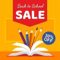 Voltar ao livro de venda da escola vetor