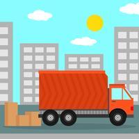 Relocação em casa com ilustração em vetor de caminhão em movimento