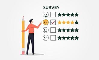 um homem com o conceito de formulário de pesquisa de preenchimento de lápis. feedback de pesquisa para ilustração vetorial de satisfação do cliente