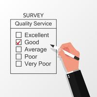 mão preenchendo o conceito de formulário de pesquisa. um questionário de pesquisa para ilustração vetorial de feedback do cliente vetor