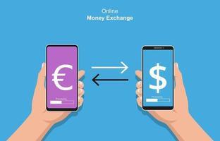 mãos segurando um smartphone fazendo o conceito de transações. ilustração vetorial de troca de dinheiro online vetor