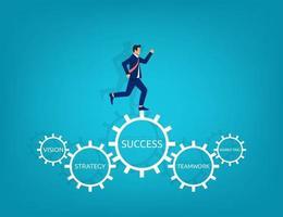 empresário rodando em marcha com o conceito de sucesso de texto. ilustração em vetor símbolo gestão de desempenho empresarial