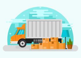 Fundo de conceito de caminhão em movimento vetor