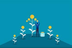 fazendeiro plantando uma árvore do dinheiro e colhendo dólares. ilustração em vetor crescimento lucro financeiro. retorno sobre o investimento