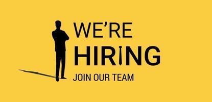 estamos contratando um banner de vetor amarelo. conceito de anúncio de recrutamento de negócios.