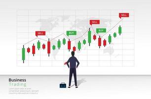 conceito de design de estratégia de negociação. estratégias de investimento e conceito de arte de linha de comércio online. comprar e vender indicadores no design gráfico do gráfico de velas. ilustração do modelo vetorial vetor