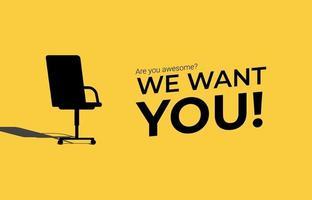 estamos contratando conceito. anúncio de recrutamento de negócios mínimo com símbolo de cadeira de escritório. vetor