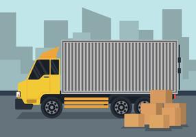 Ilustração de caminhão em movimento vetor