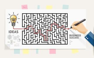 projeto de conceito de labirinto de negócios. mão de empresário desenhando linha através do labirinto do labirinto e pensa na solução para o sucesso. ilustrações gráficas do vetor.