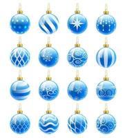 conjunto de bolas de Natal azuis. ilustrações vetoriais