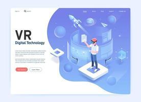 conceito de tecnologia digital de óculos de realidade virtual. gráfico de ilustração vetorial. vetor