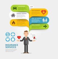 serviço de seguro com modelo de discurso de bolha. ilustrações vetoriais. vetor