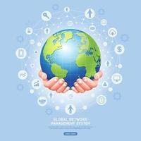 conceito de sistema de gerenciamento de rede global. terra em ilustração vetorial de mãos. vetor